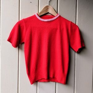 Vintage 1950s Cashmere Sweater Red XS